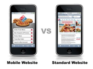 mobile and standard website comparision