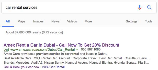 Search Ads for Car Rental Company in Dubai